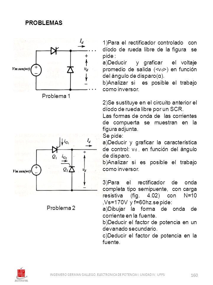 1)Para el rectificador controlado con díodo de rueda libre de la figura se pide : a)Deducir y graficar el voltaje promedio de salida ( ) en función de