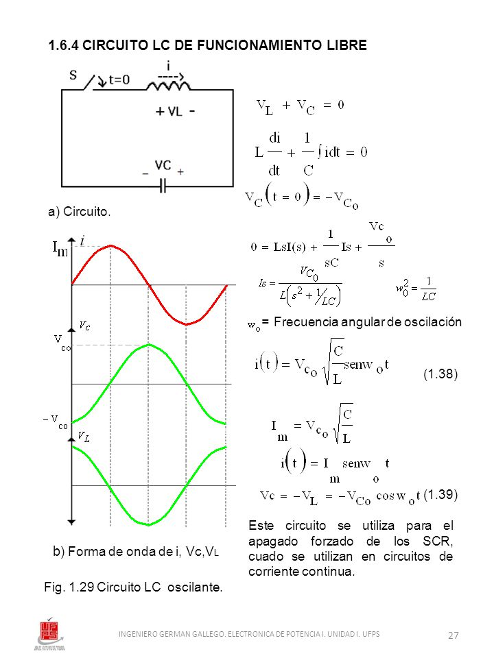 1.6.4 CIRCUITO LC DE FUNCIONAMIENTO LIBRE Fig. 1.29 Circuito LC oscilante. a) Circuito. b ) Forma de onda de i, Vc,V L Este circuito se utiliza para e