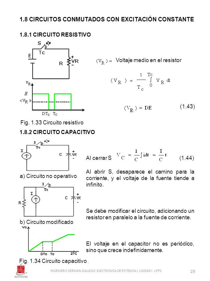 1.8 CIRCUITOS CONMUTADOS CON EXCITACIÓN CONSTANTE 1.8.1 CIRCUITO RESISTIVO 1.8.2 CIRCUITO CAPACITIVO Fig. 1.33 Circuito resistivo Fig. 1.34 Circuito c