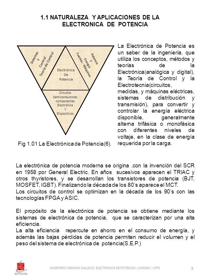1.1 NATURALEZA Y APLICACIONES DE LA ELECTRONICA DE POTENCIA La Electrónica de Potencia es un saber de la ingeniería, que utiliza los conceptos, método