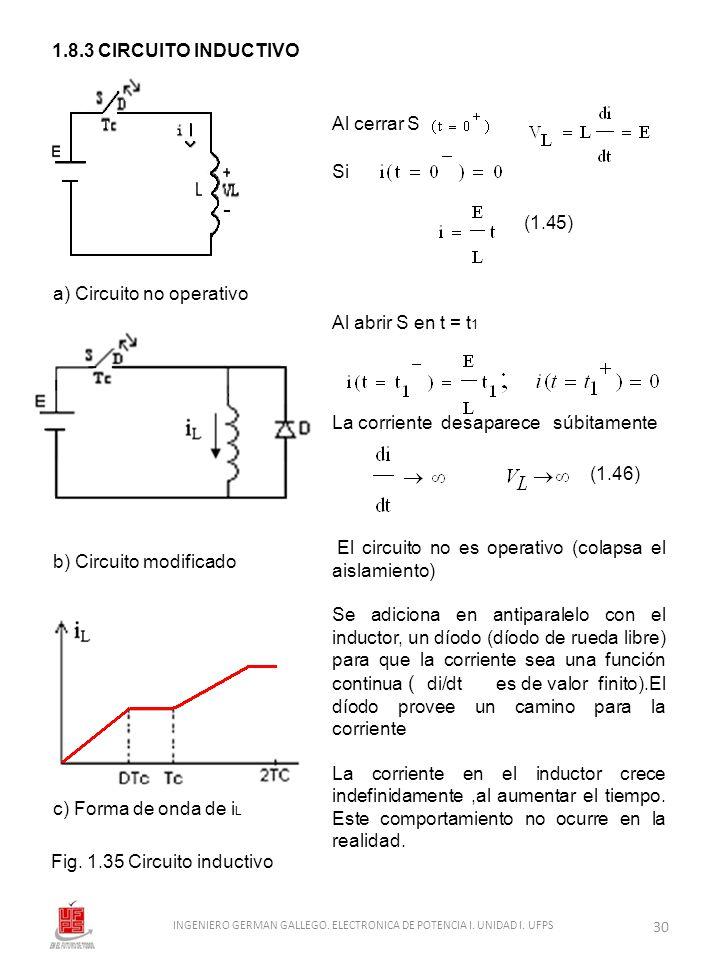1.8.3 CIRCUITO INDUCTIVO Al cerrar S Si (1.45) Al abrir S en t = t 1 La corriente desaparece súbitamente (1.46) El circuito no es operativo (colapsa e