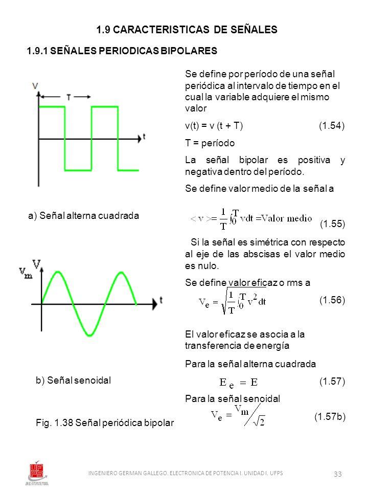 Se define por período de una señal periódica al intervalo de tiempo en el cual la variable adquiere el mismo valor v(t) = v (t + T) (1.54) T = período
