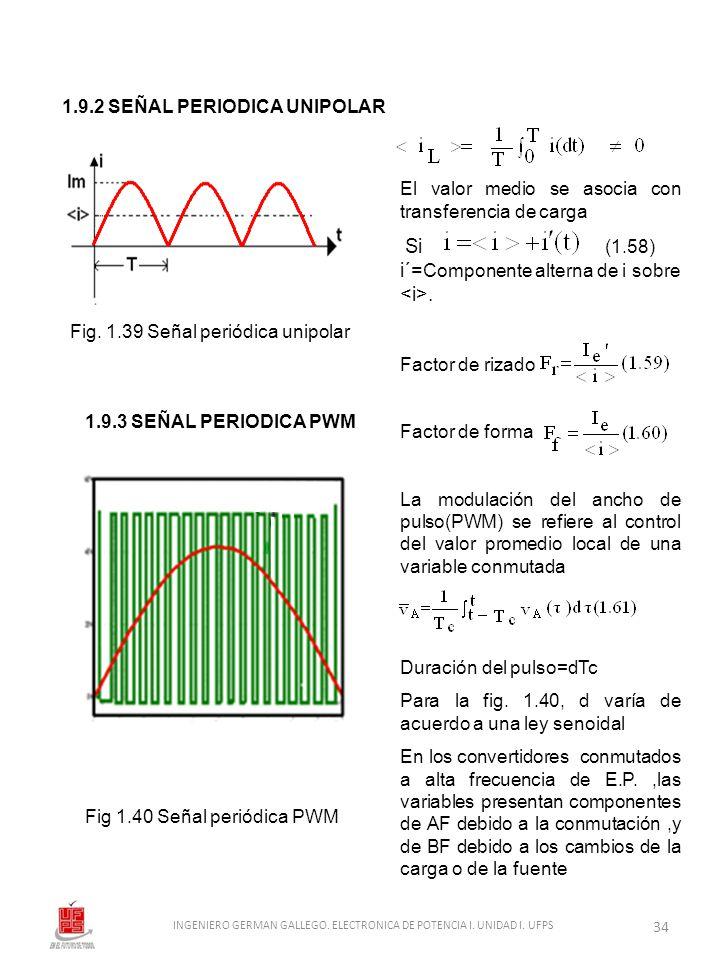 1.9.2 SEÑAL PERIODICA UNIPOLAR Fig. 1.39 Señal periódica unipolar El valor medio se asocia con transferencia de carga Si (1.58) i´= Componente alterna