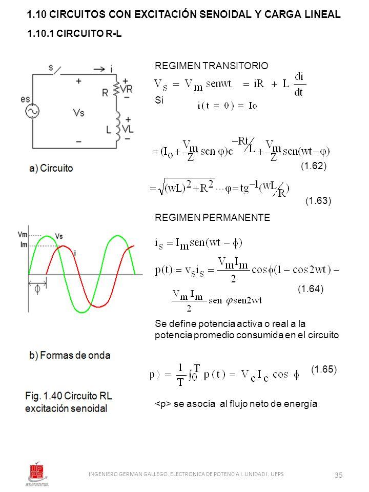 1.10 CIRCUITOS CON EXCITACIÓN SENOIDAL Y CARGA LINEAL 1.10.1 CIRCUITO R-L REGIMEN TRANSITORIO Si (1.62) (1.63) REGIMEN PERMANENTE (1.64) Se define pot