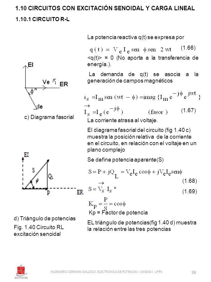 1.10 CIRCUITOS CON EXCITACIÓN SENOIDAL Y CARGA LINEAL 1.10.1 CIRCUITO R-L La potencia reactiva q(t) se expresa por (1.66) = 0 (No aporta a la transfer