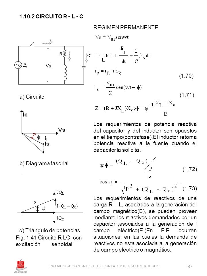1.10.2 CIRCUITO R - L - C a) Circuito b) Diagrama fasorial d) Triángulo de potencias Fig. 1.41 Circuito R LC ccn excitación senoidal REGIMEN PERMANENT
