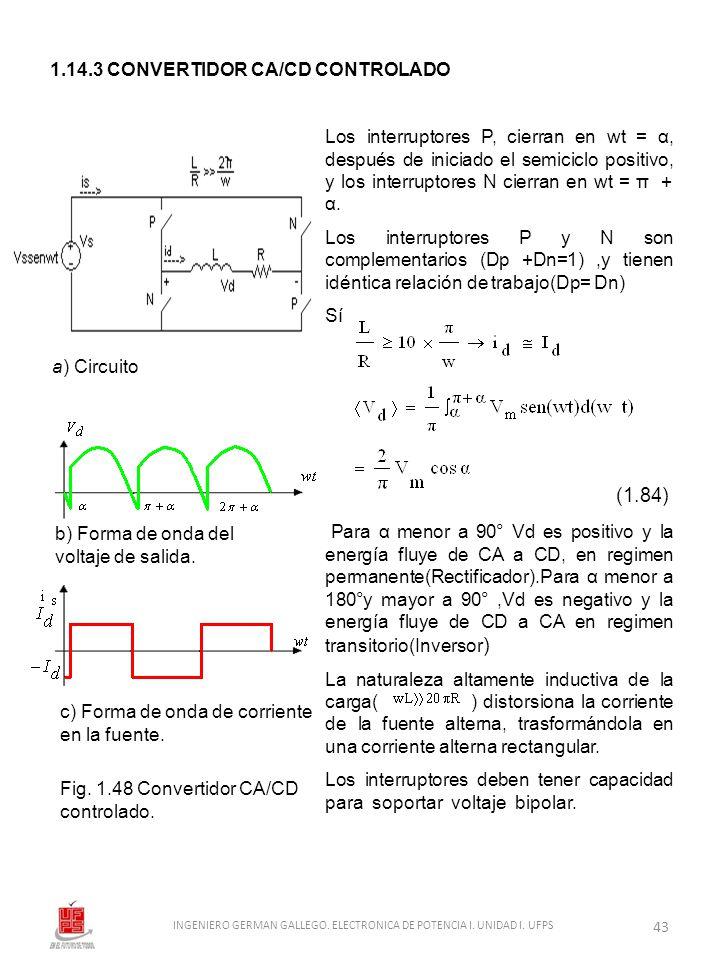 1.14.3 CONVERTIDOR CA/CD CONTROLADO a) Circuito b) Forma de onda del voltaje de salida. c) Forma de onda de corriente en la fuente. Fig. 1.48 Converti