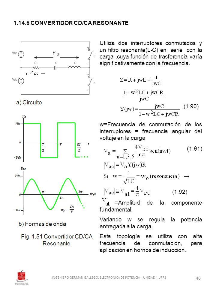1.14.6 CONVERTIDOR CD/CA RESONANTE Utiliza dos interruptores conmutados y un filtro resonante(L-C) en serie con la carga,cuya función de trasferencia