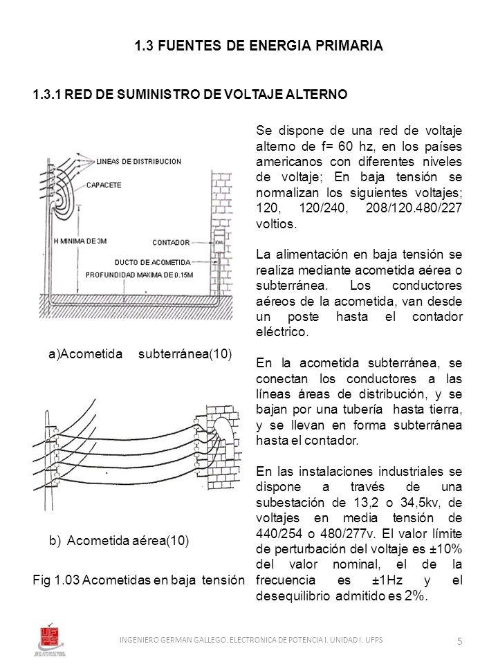 1.3 FUENTES DE ENERGIA PRIMARIA 1.3.1 RED DE SUMINISTRO DE VOLTAJE ALTERNO a)Acometida subterránea(10) b) Acometida aérea(10) Fig 1.03 Acometidas en b