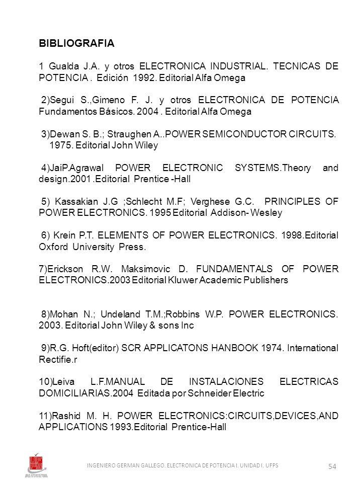 BIBLIOGRAFIA 1 Gualda J.A. y otros ELECTRONICA INDUSTRIAL. TECNICAS DE POTENCIA. Edición 1992. Editorial Alfa Omega 2)Segui S.,Gimeno F. J. y otros EL