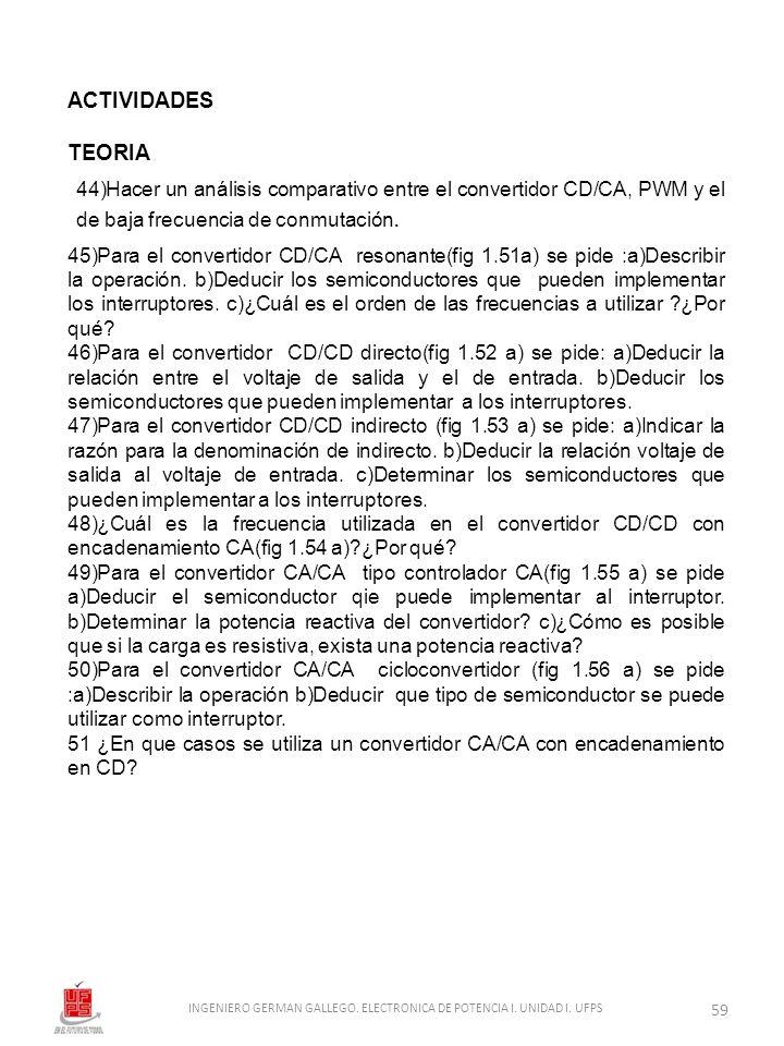 ACTIVIDADES TEORIA 45)Para el convertidor CD/CA resonante(fig 1.51a) se pide :a)Describir la operación. b)Deducir los semiconductores que pueden imple