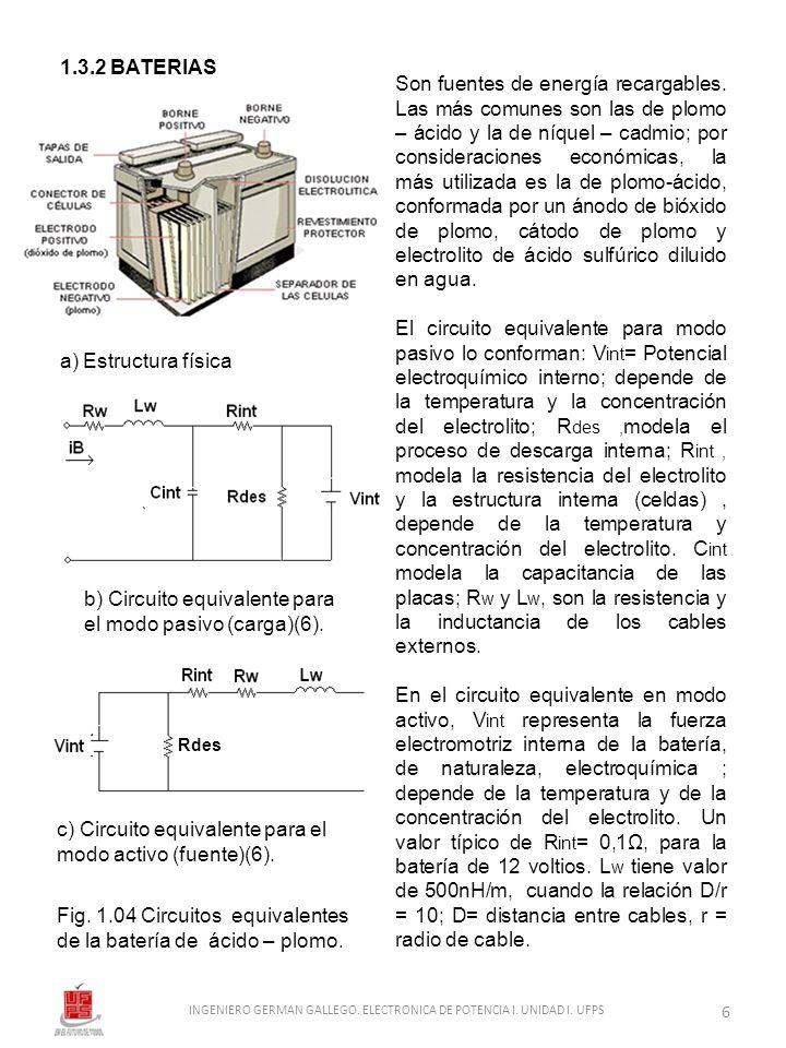 1.3.2 BATERIAS a) Estructura física c) Circuito equivalente para el modo activo (fuente)(6). Fig. 1.04 Circuitos equivalentes de la batería de ácido –