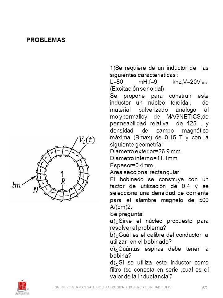 1)Se requiere de un inductor de las siguientes caracteristícas : L=50 mH;f=9 khz;V=20V rms. (Excitación senoidal) Se propone para construir este induc