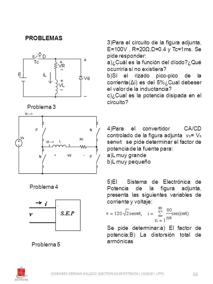 3)Para el circuito de la figura adjunta, E=100V, R=20,D=0.4 y Tc=1ms. Se pide responder: a)¿Cuál es la función del díodo?¿Qué ocurriría si no existier