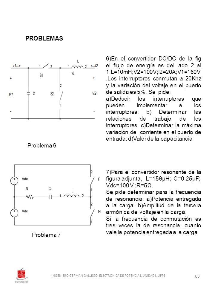 6)En el convertidor DC/DC de la fig el flujo de energía es del lado 2 al 1.L=10mH;V2=100V;I2=20A;V1=160V.Los interruptores conmutan a 20Khz y la varia