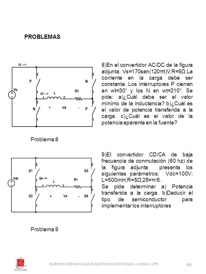 8)En el convertidor AC/DC de la figura adjunta, Vs=170sen(120πt)V.R=5.La corriente en la carga debe ser constante. Los interruptores P cierran en wt=3