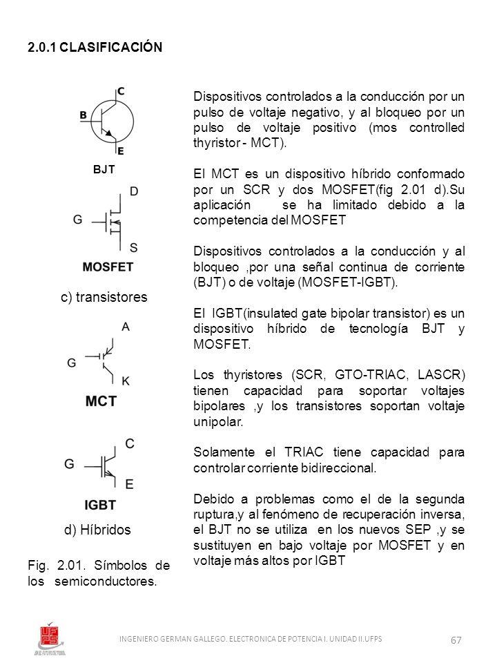 c) transistores d) Híbridos Fig. 2.01. Símbolos de los semiconductores. Dispositivos controlados a la conducción por un pulso de voltaje negativo, y a