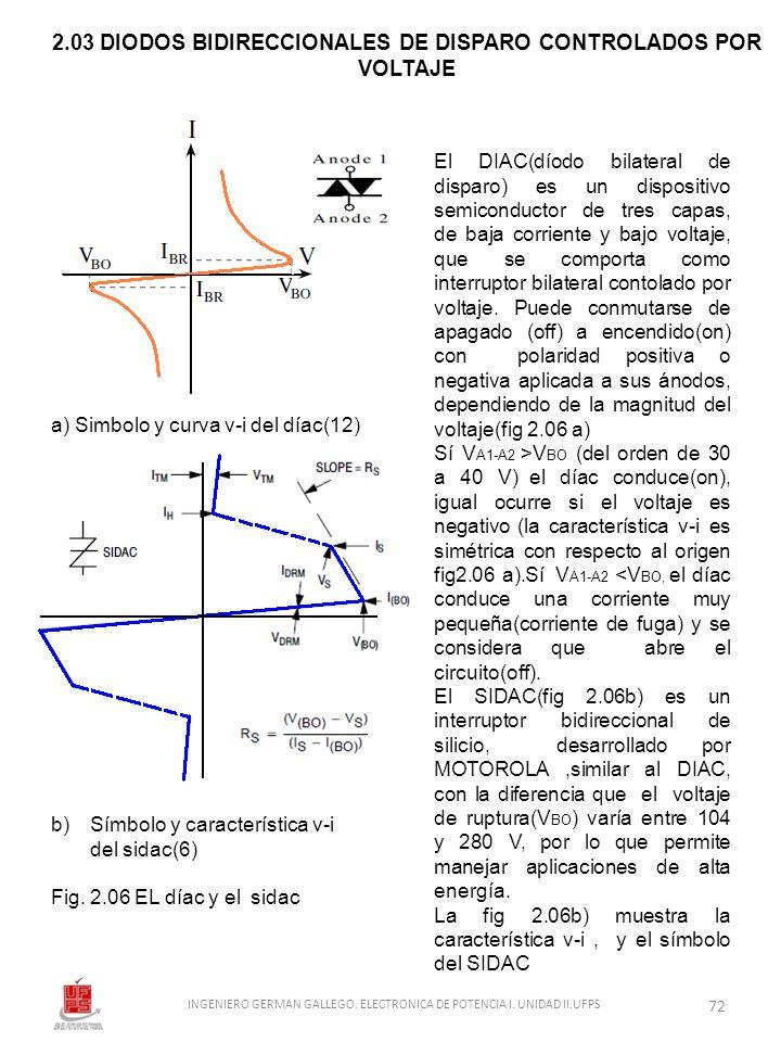 2.03 DIODOS BIDIRECCIONALES DE DISPARO CONTROLADOS POR VOLTAJE a) Simbolo y curva v-i del díac(12) b)Símbolo y característica v-i del sidac(6) Fig. 2.