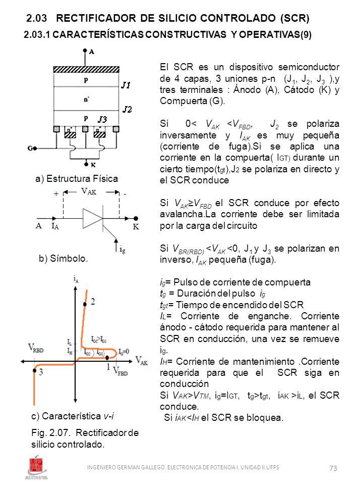 2.03 RECTIFICADOR DE SILICIO CONTROLADO (SCR) a) Estructura Física b) Símbolo. c) Característica v-i Fig. 2.07. Rectificador de silicio controlado. El