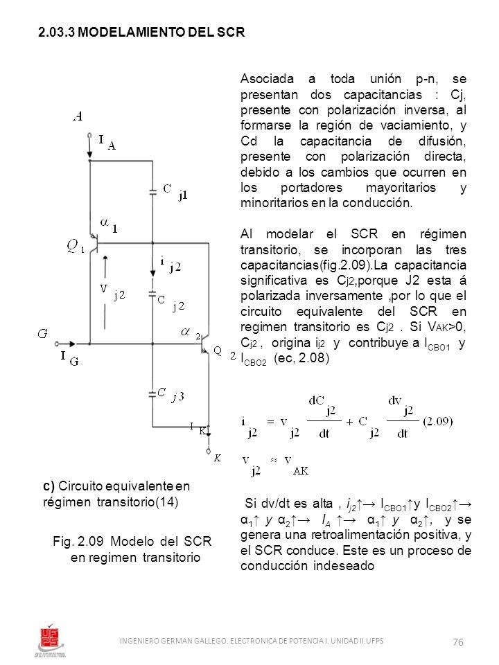2.03.3 MODELAMIENTO DEL SCR c) Circuito equivalente en régimen transitorio(14) Fig. 2.09 Modelo del SCR en regimen transitorio Asociada a toda unión p