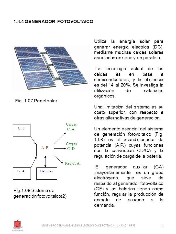 1.3.4 GENERADOR FOTOVOLTAICO Fig. 1.07 Panel solar Fig.1.08 Sistema de generación fotovoltaico(2) A. P. G. A. G. F. Cargas C. A. Cargas C. D. Red C. A