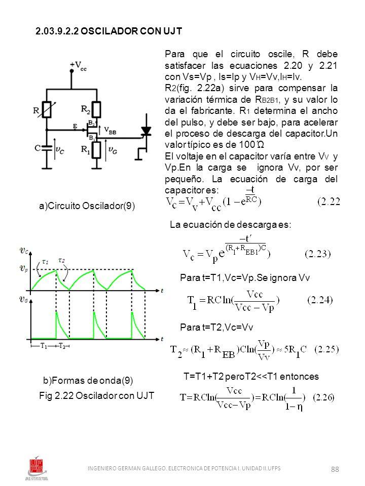 2.03.9.2.2 OSCILADOR CON UJT a)Circuito Oscilador(9) b)Formas de onda(9) Fig 2.22 Oscilador con UJT Para que el circuito oscile, R debe satisfacer las