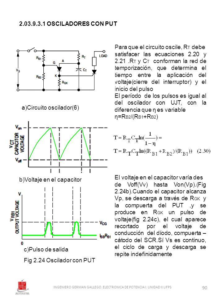 Fig 2.24 Oscilador con PUT 2.03.9.3.1 OSCILADORES CON PUT Para que el circuito oscile, R T debe satisfacer las ecuaciones 2.20 y 2.21.R T y C T confor