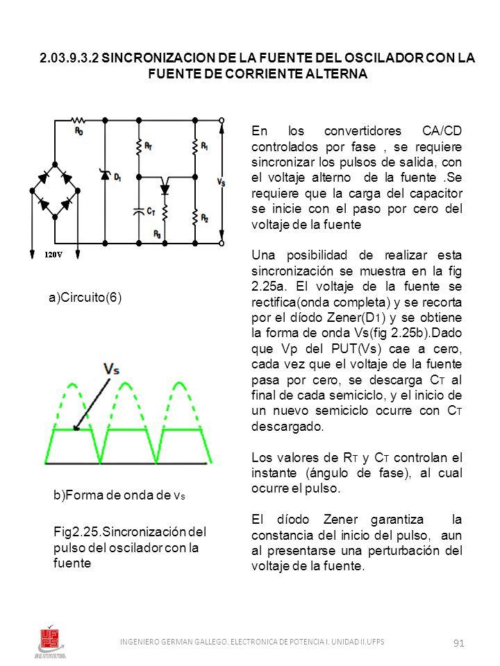 2.03.9.3.2 SINCRONIZACION DE LA FUENTE DEL OSCILADOR CON LA FUENTE DE CORRIENTE ALTERNA a)Circuito(6) b)Forma de onda de v s Fig2.25.Sincronización de