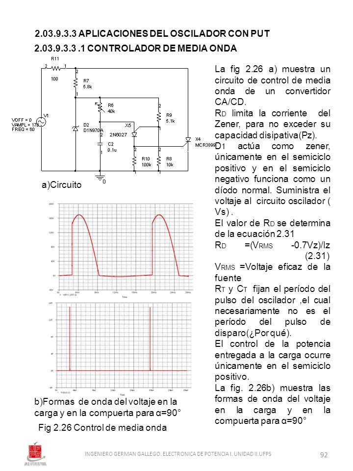 2.03.9.3.3 APLICACIONES DEL OSCILADOR CON PUT Fig 2.26 Control de media onda a)Circuito b)Formas de onda del voltaje en la carga y en la compuerta par