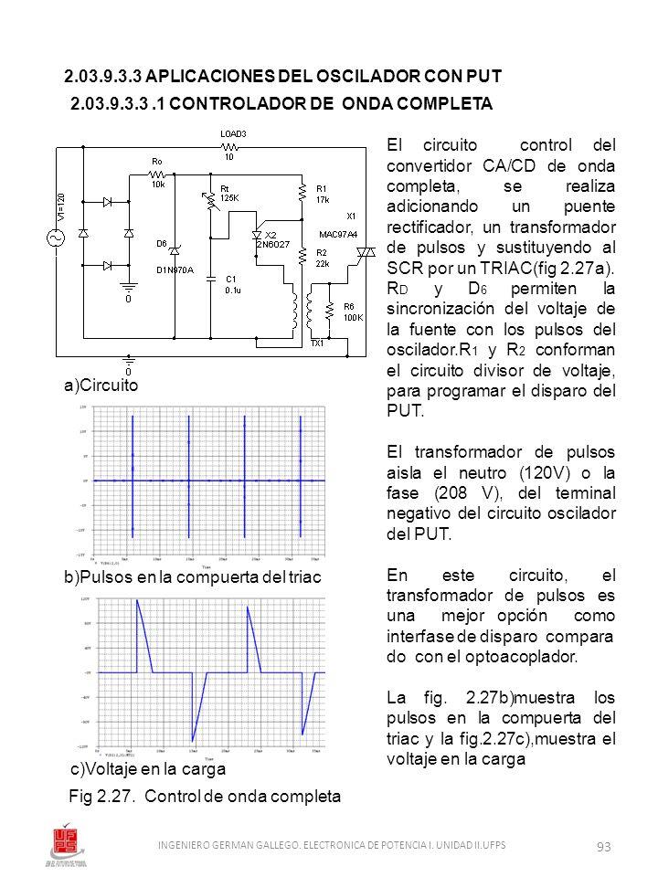 2.03.9.3.3 APLICACIONES DEL OSCILADOR CON PUT Fig 2.27. Control de onda completa a)Circuito c)Voltaje en la carga El circuito control del convertidor