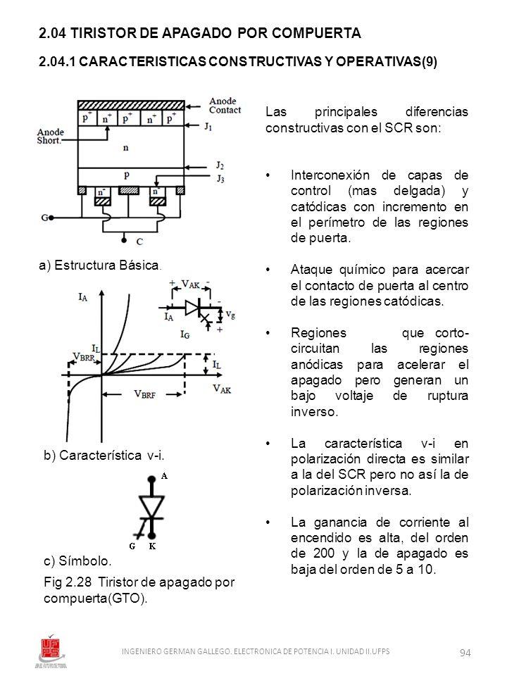 2.04 TIRISTOR DE APAGADO POR COMPUERTA 2.04.1 CARACTERISTICAS CONSTRUCTIVAS Y OPERATIVAS(9) Las principales diferencias constructivas con el SCR son:
