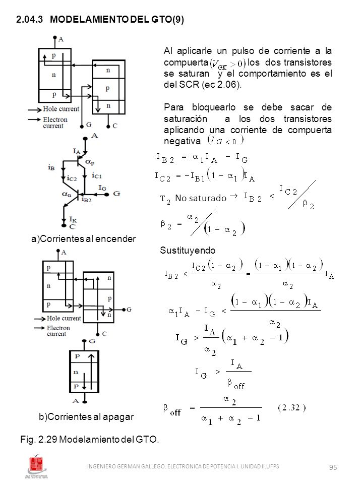 2.04.3 MODELAMIENTO DEL GTO(9) Al aplicarle un pulso de corriente a la compuerta los dos transistores se saturan y el comportamiento es el del SCR (ec