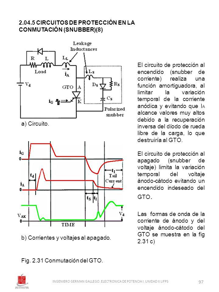 2.04.5 CIRCUITOS DE PROTECCIÓN EN LA CONMUTACIÓN (SNUBBER)(8) El circuito de protección al encendido (snubber de corriente) realiza una función amorti