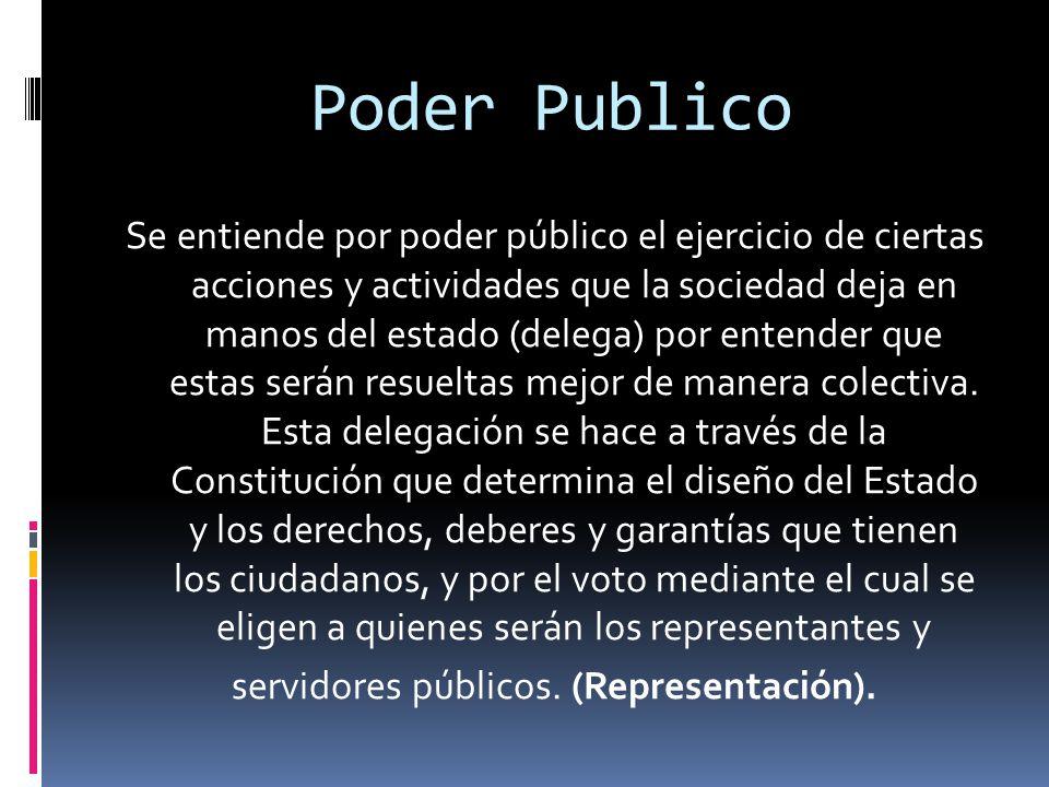 Poder Publico Se entiende por poder público el ejercicio de ciertas acciones y actividades que la sociedad deja en manos del estado (delega) por entender que estas serán resueltas mejor de manera colectiva.