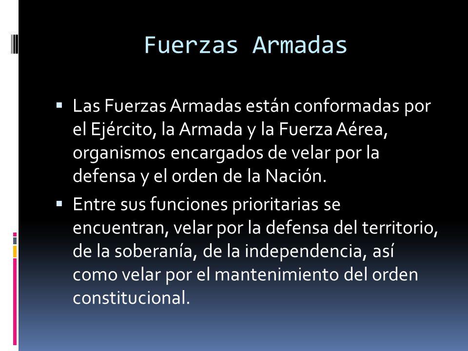 Fuerzas Armadas Las Fuerzas Armadas están conformadas por el Ejército, la Armada y la Fuerza Aérea, organismos encargados de velar por la defensa y el orden de la Nación.