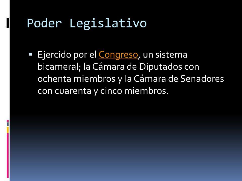 Poder Legislativo Ejercido por el Congreso, un sistema bicameral; la Cámara de Diputados con ochenta miembros y la Cámara de Senadores con cuarenta y cinco miembros.Congreso