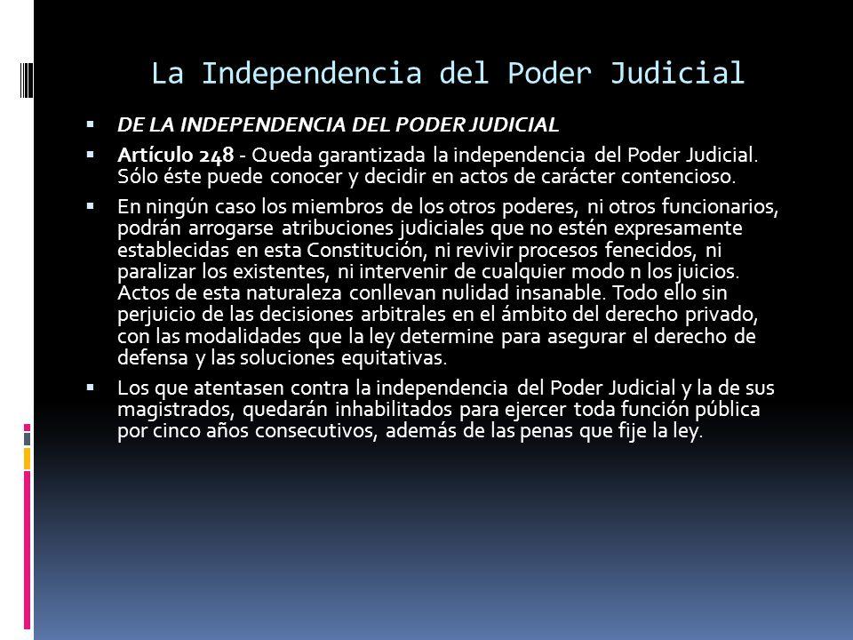 La Independencia del Poder Judicial DE LA INDEPENDENCIA DEL PODER JUDICIAL Artículo 248 - Queda garantizada la independencia del Poder Judicial. Sólo