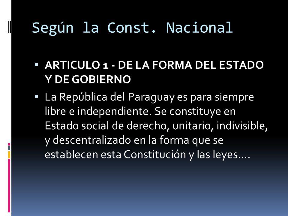 Según la Const. Nacional ARTICULO 1 - DE LA FORMA DEL ESTADO Y DE GOBIERNO La República del Paraguay es para siempre libre e independiente. Se constit
