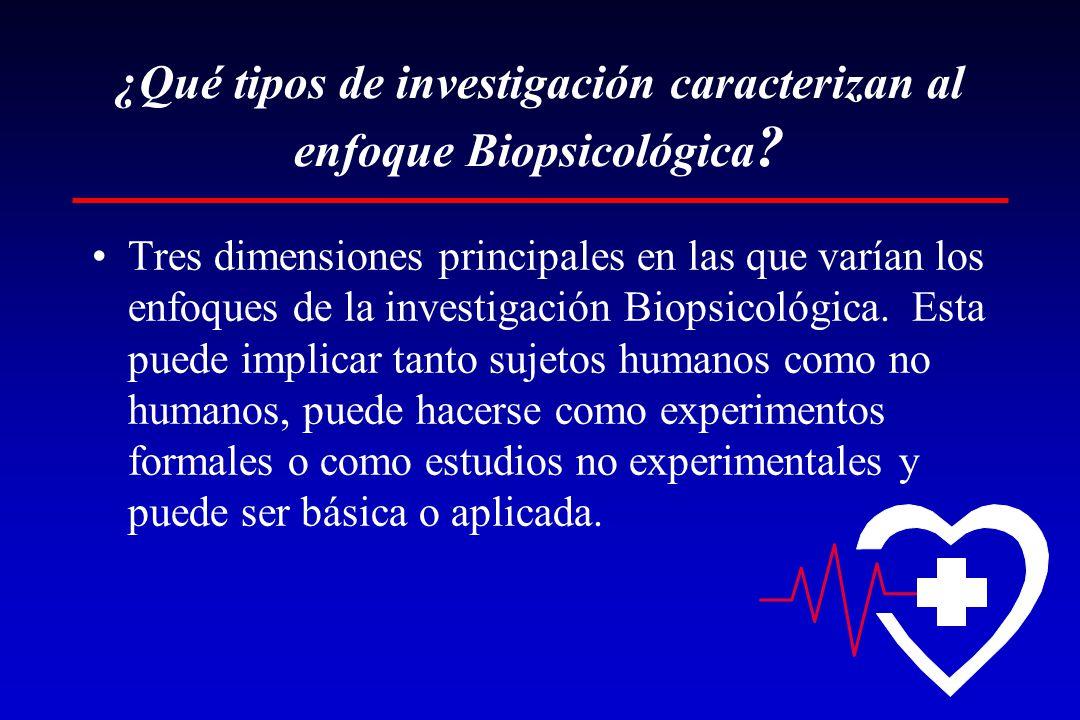 ¿Qué tipos de investigación caracterizan al enfoque Biopsicológica ? Tres dimensiones principales en las que varían los enfoques de la investigación B