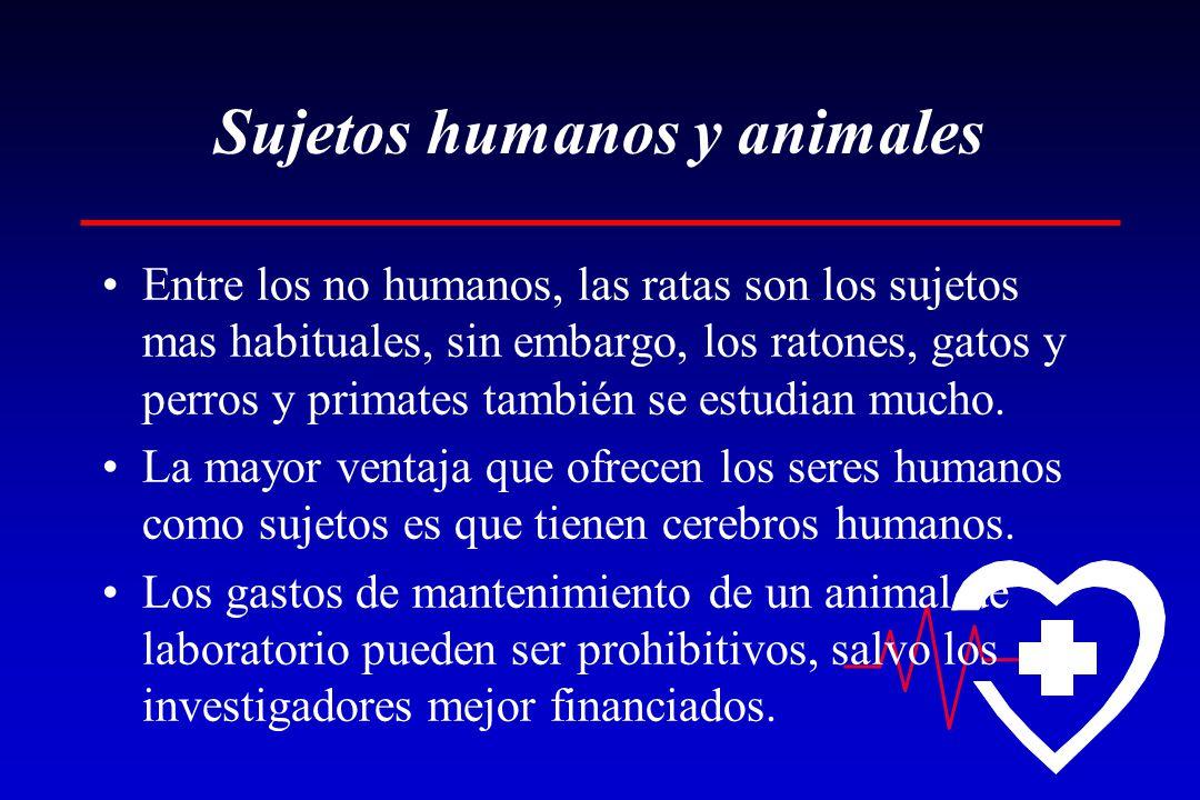 Sujetos humanos y animales Entre los no humanos, las ratas son los sujetos mas habituales, sin embargo, los ratones, gatos y perros y primates también