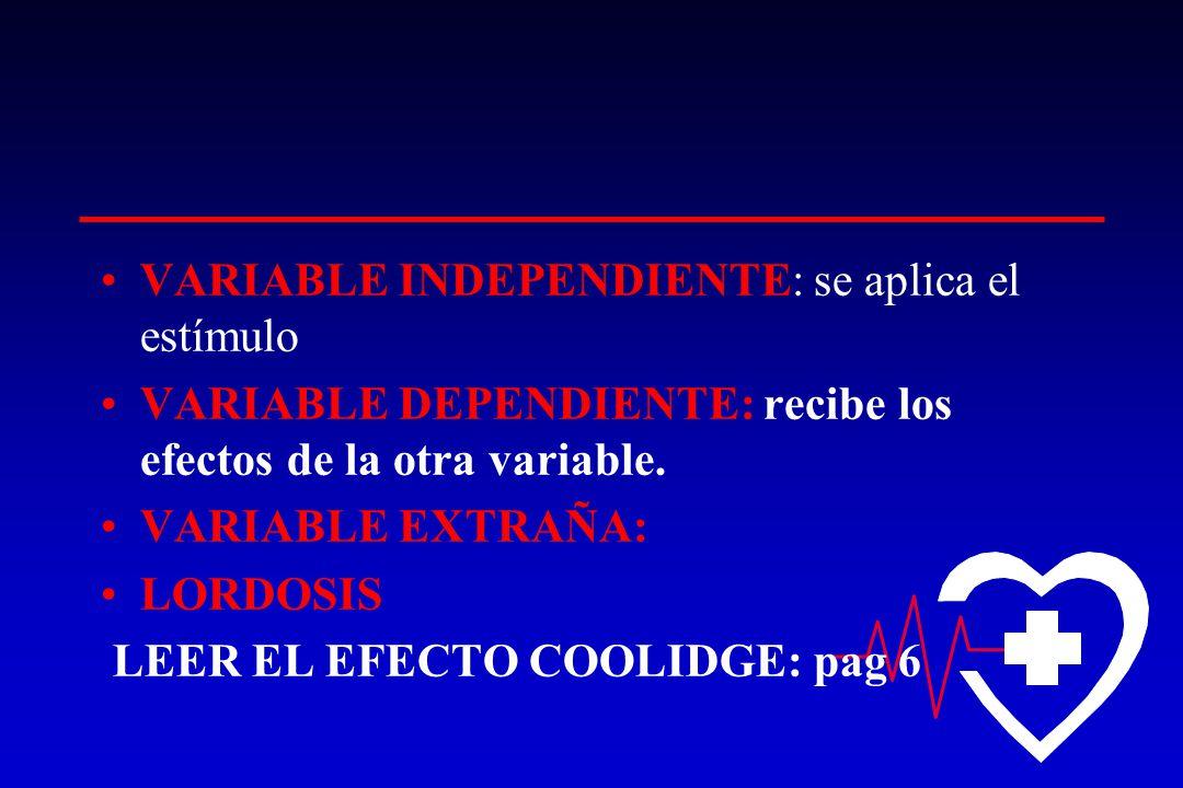 VARIABLE INDEPENDIENTE: se aplica el estímulo VARIABLE DEPENDIENTE: recibe los efectos de la otra variable. VARIABLE EXTRAÑA: LORDOSIS LEER EL EFECTO