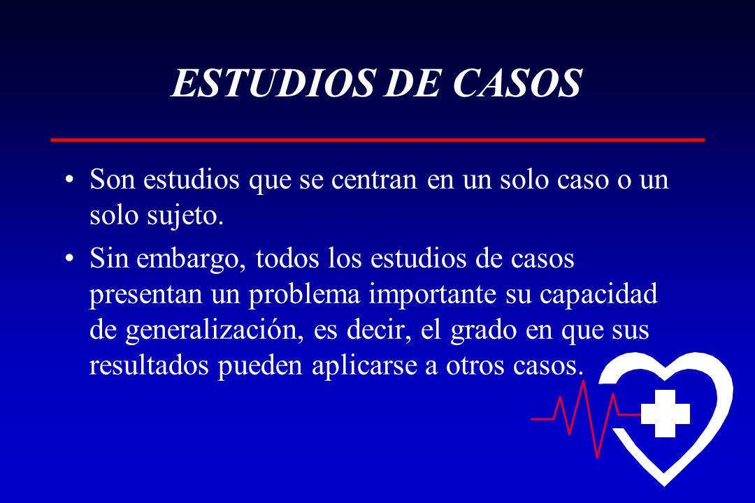 ESTUDIOS DE CASOS Son estudios que se centran en un solo caso o un solo sujeto.