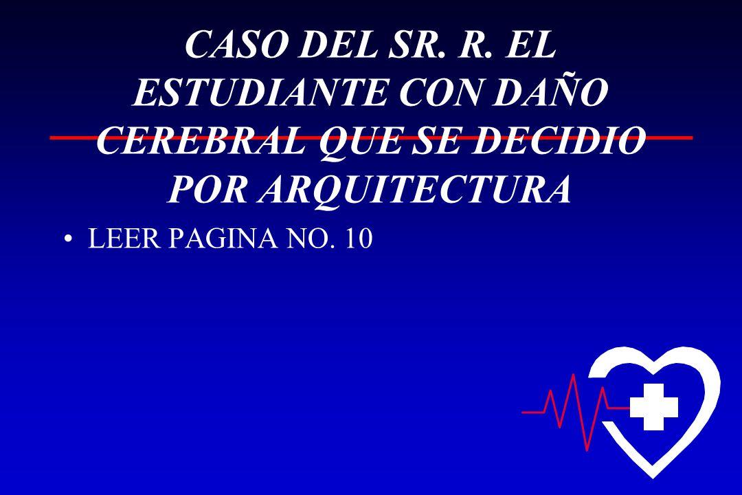 CASO DEL SR. R. EL ESTUDIANTE CON DAÑO CEREBRAL QUE SE DECIDIO POR ARQUITECTURA LEER PAGINA NO. 10