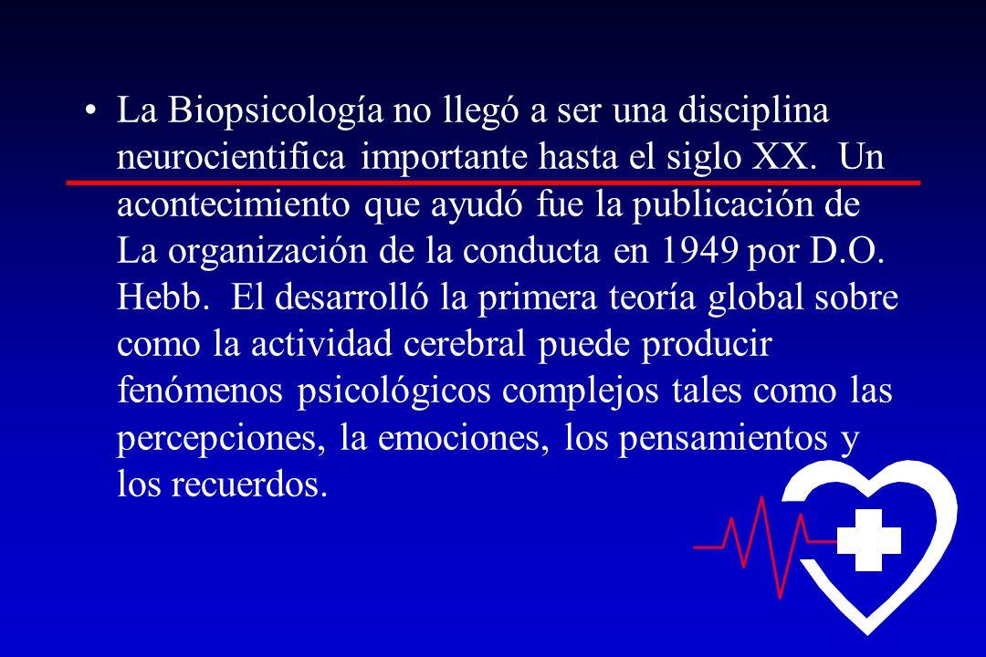 La Biopsicología no llegó a ser una disciplina neurocientifica importante hasta el siglo XX. Un acontecimiento que ayudó fue la publicación de La orga