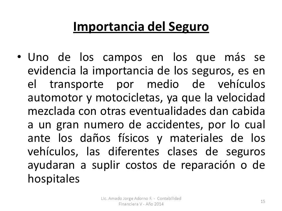 Importancia del Seguro Uno de los campos en los que más se evidencia la importancia de los seguros, es en el transporte por medio de vehículos automot