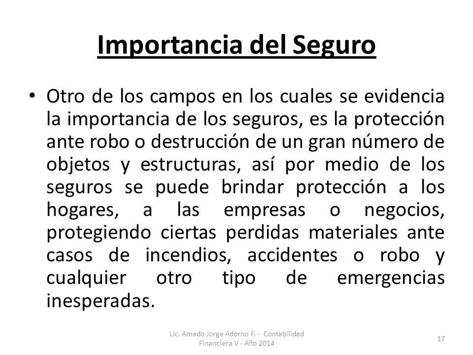 Importancia del Seguro Otro de los campos en los cuales se evidencia la importancia de los seguros, es la protección ante robo o destrucción de un gra