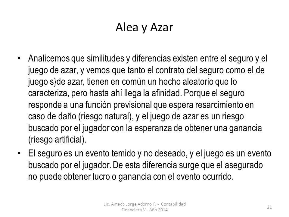 Alea y Azar Analicemos que similitudes y diferencias existen entre el seguro y el juego de azar, y vemos que tanto el contrato del seguro como el de j