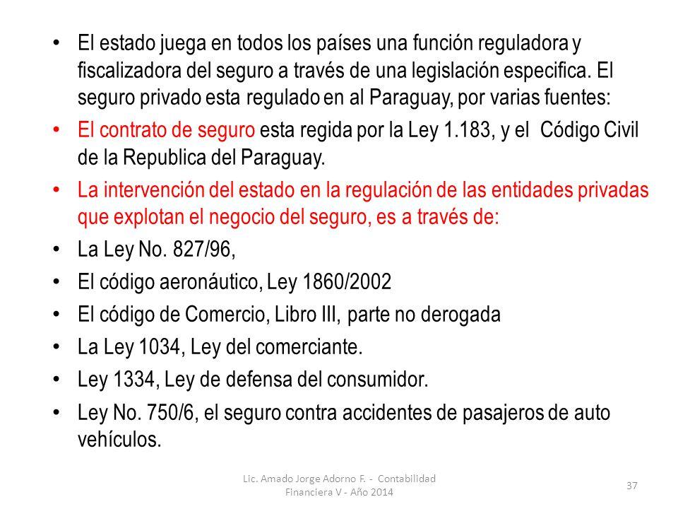 Lic. Amado Jorge Adorno F. - Contabilidad Financiera V - Año 2014 37 El estado juega en todos los países una función reguladora y fiscalizadora del se