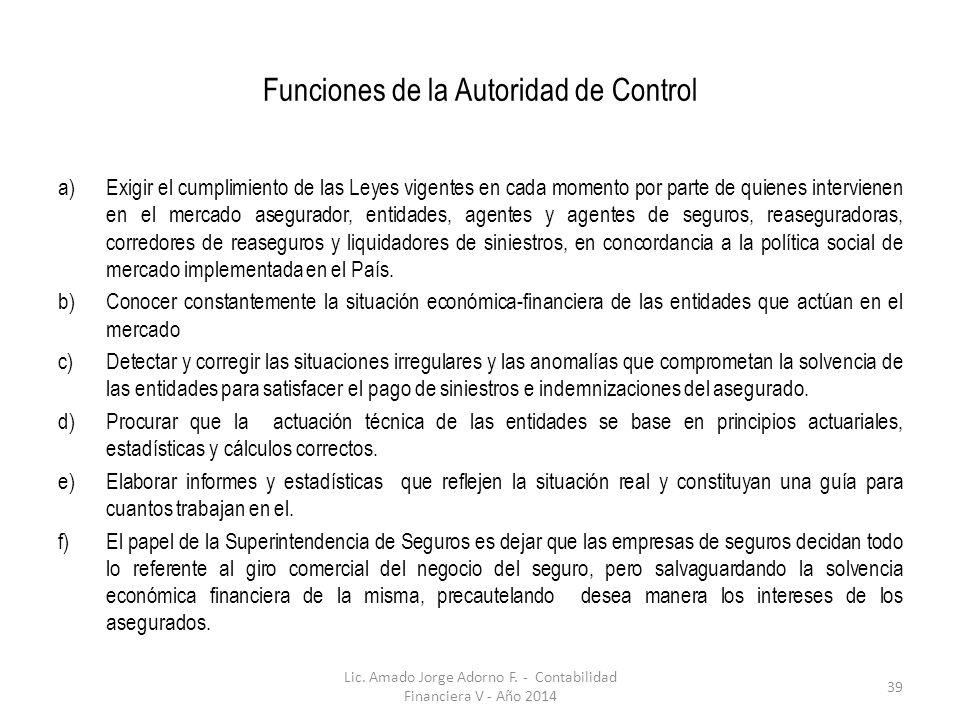 Funciones de la Autoridad de Control a)Exigir el cumplimiento de las Leyes vigentes en cada momento por parte de quienes intervienen en el mercado ase