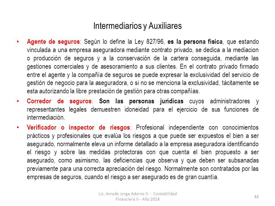 Intermediarios y Auxiliares Agente de seguros : Según lo define la Ley 827/96, es la persona física, que estando vinculada a una empresa aseguradora m